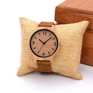 Высококачественные элегантные деревянные часы для женщин, 16 мм кожаный ремешок для часов, модные классические часы ручной работы, Relogio Feminino,...