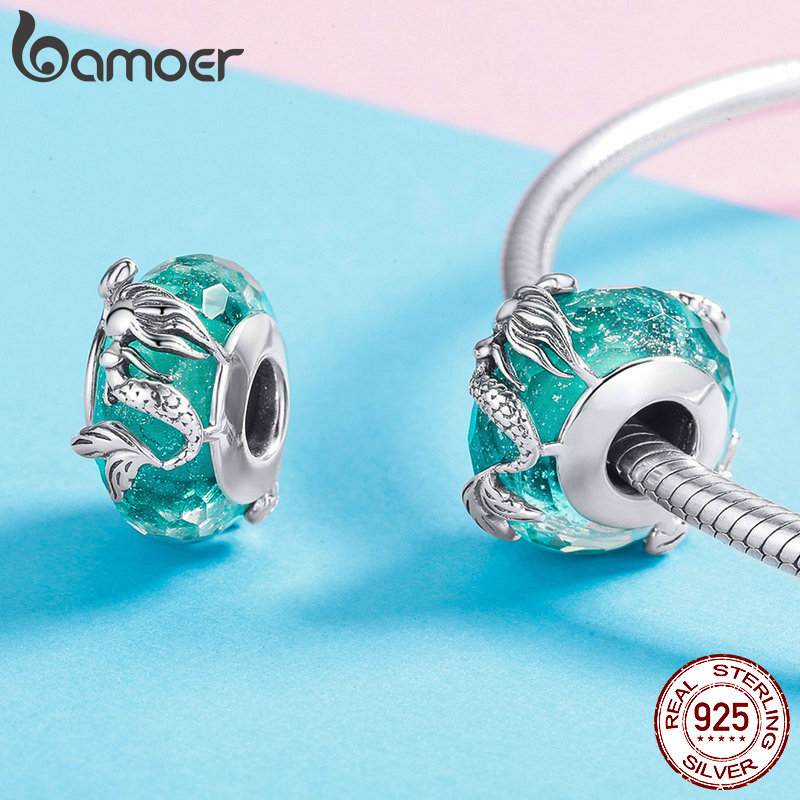 BAMOER Glass Beads 925 Sterling Silver Mermaid Sea Blue Murao Handmade Charm fit for Necklace Women BAMOER Glass Beads 925 Sterling Silver Mermaid Sea Blue Murao Handmade Charm fit for Necklace Women Jewelry High Quality SCC1154