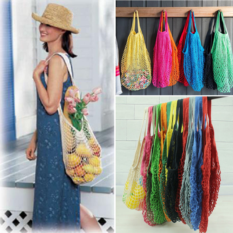 Reusable Fruit Shopping Bags String Grocery Shopper Cotton Tote Mesh Woven Net Bag
