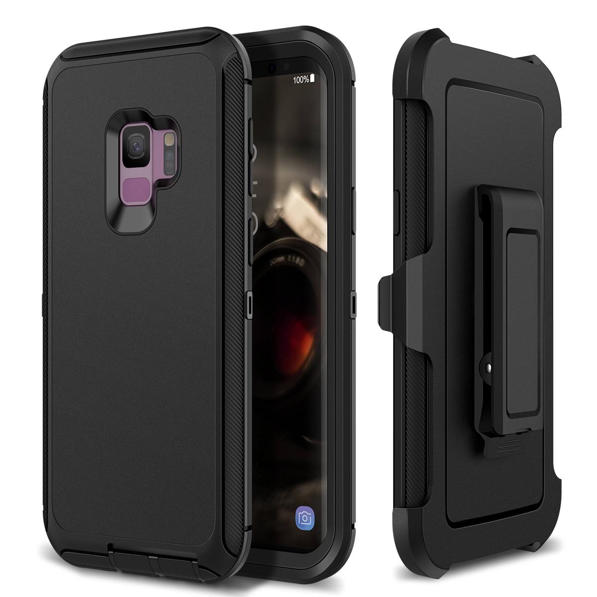2c7e907330 3 en 1 duro caso para Samsung Galaxy S8 S9 plus deporte Clip de cinturón  protectora a prueba de golpes para Samsung nota 8 9