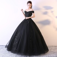 Cheap Black Quinceanera Dresses 2018 Lace Ball Gown Party Prom Dresses Gowns Puffy Sweet 16 Dresses Vestidos de Quince 15 anos