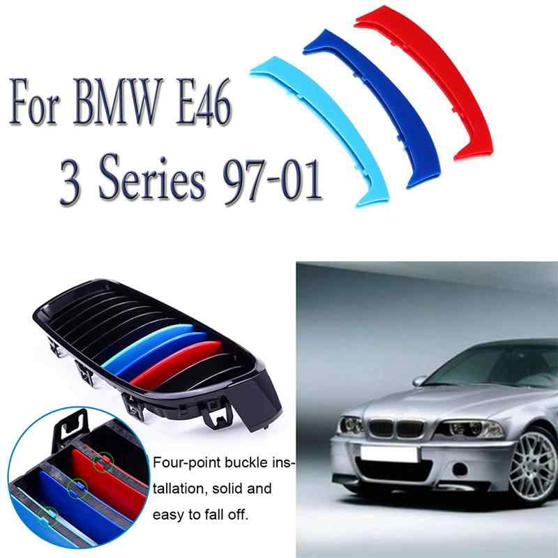 3 Warna Set Racing Grille Cocok untuk BMW 3 Series E46 1997-2001 Ginjal Grille Grill Cover Stripe Klip