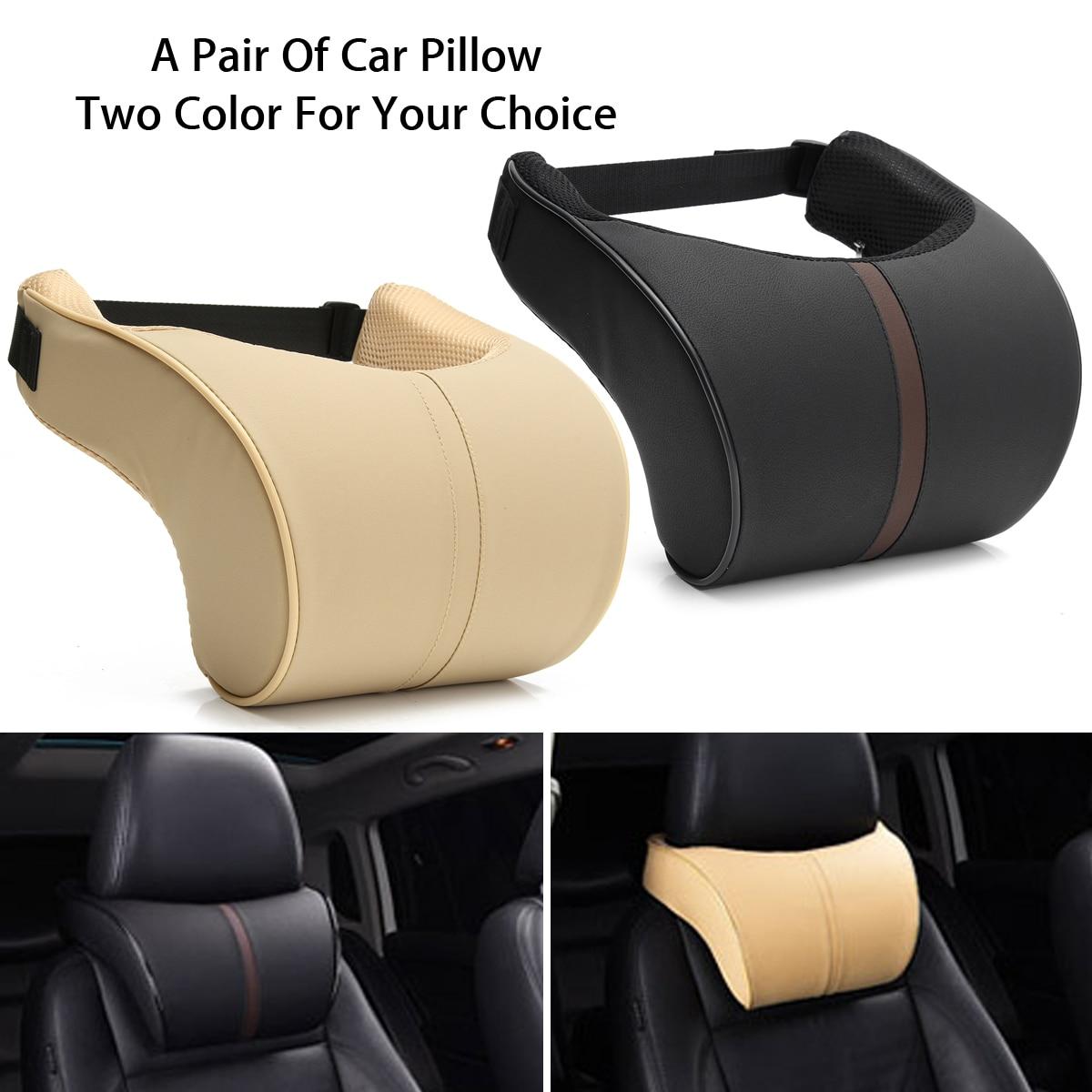 2x Car Seat Neck Pillow PU Leather Ergonomic Seat Headrest Pad Auto Car Neck Rest Memory Foam Pillows все цены