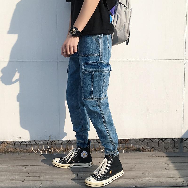 2019 Korean Style Men's Stretch Slim Fit Classic Jeans Blue Work Schoolboy Cargo Pocket Casual Pants Biker Denim Trousers S-2XL