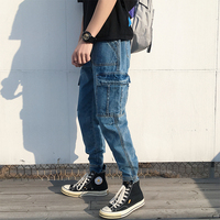 2019 Korean Style Men's Stretch Slim Fit Classic Jeans Blue Work Schoolboy Cargo Pocket Casual Pants Biker Denim Trousers S 2XL