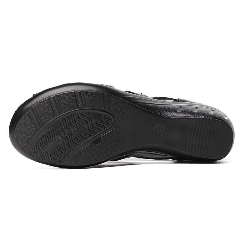 UPUPER 本革グラディエーターサンダルの女性通気性夏の靴女性黒ウェッジレディース靴ジッパーの女性の靴