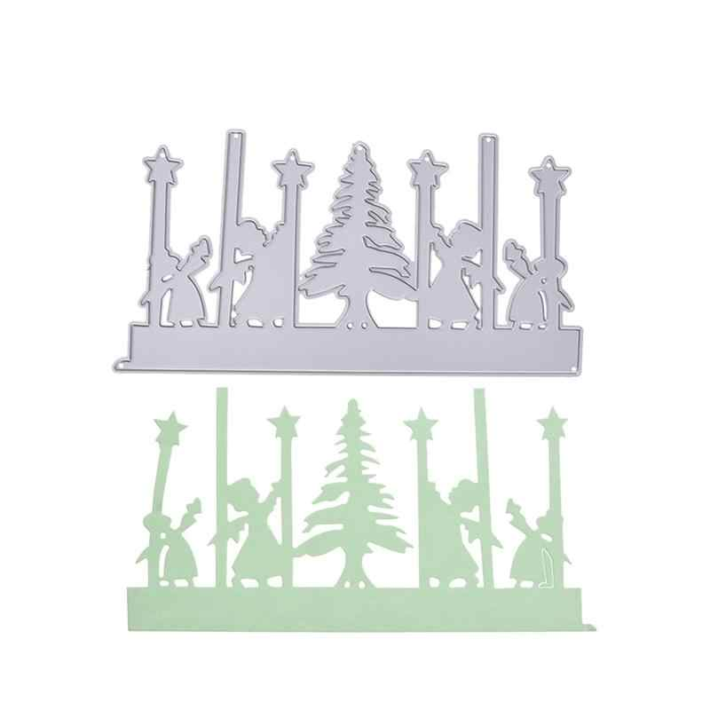 1 قطعة عيد الميلاد شجرة والاطفال قطع يموت الاستنسل قطع قالب سبائك DIY الحرف ل حرفة الفن الألبوم سكرابوكينغ