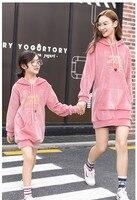 Matching Family Outfits Thick Gold Velvet Fashion Print Sweatshirt Dress Mother Daughter Dresses Winter Plus Velvet Hoodies