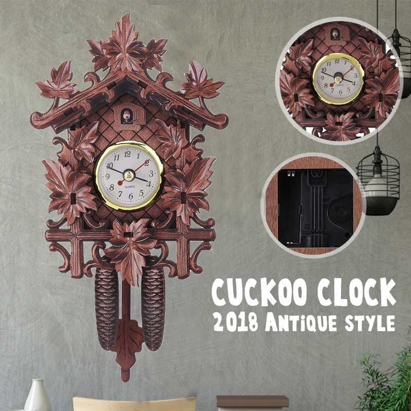 118*225*50mm Wall Clocks Vintage Maple Leaf Black Forest Cuckoo Wall Clock For Living Room Home Hanging Pendulum Garden Clocks