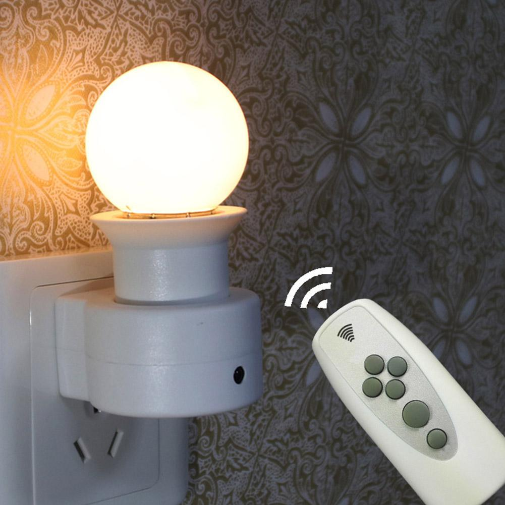 Intelligent LED Remote Control Lights Bedroom Bedside Lamp Wall Socket Plug Night Light+Switch Time Setting Three Modes Dimming