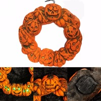 DIY Halloween Jack o' Lantern LED Pumpkin Spooky Wreath Door Hanger Hanging Decor