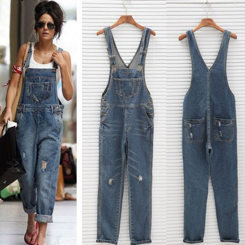 2019 Holes Camisole Palazzo Pants Women Ripped Loose Boyfriend   Jeans   Female Femme For Woman Plus Size Streetwear Jeanse Overall