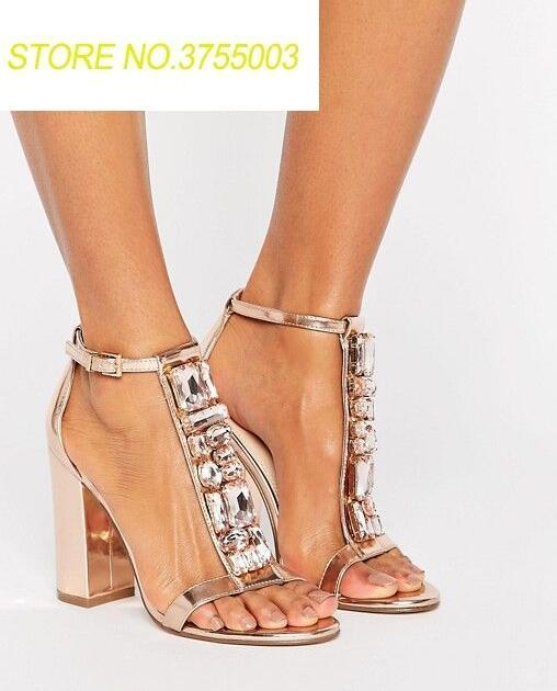 Sexy cristal t-sangles femmes bout ouvert sandales en cuir Rose or dames Chunky talon sandales cheville boucle mode robe chaussures
