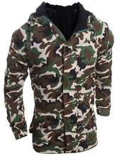 Modish Loose Fit Hooded Multi-Pocket Camo Pattern Long Sleeve Thicken Cotton Blend Coat For Men camo multi pocket patches design drawstring hooded jacket