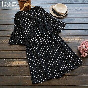 4a7e2bbdee0e46e 2019 ZANZEA Элегантный Высокая Талия Короткие Vestido для женщин платье в горошек  рубашка Дамы Длинный топ повседневное роковой негабаритных 5XL