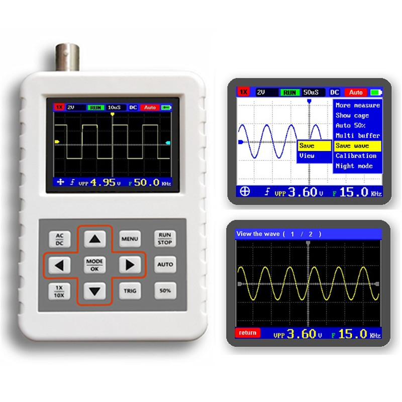 DANIU ADS2050H Handheld Oscilloscope High Precision 5MHz Bandwidth 20M Sampling Rate 2 4 Inch LCD Screen