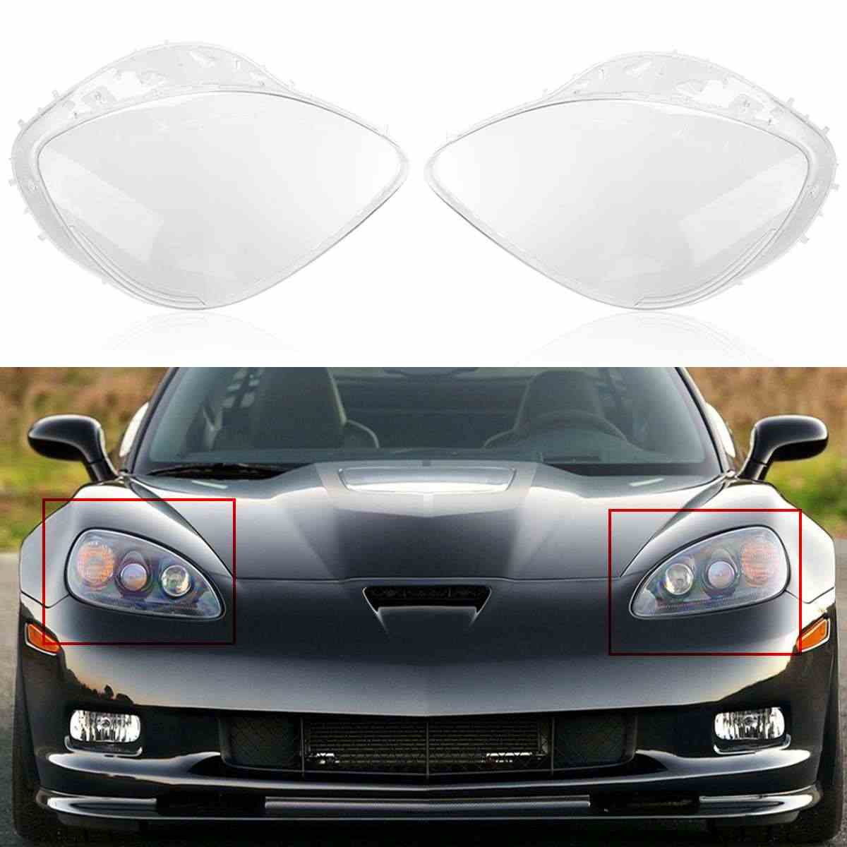 1Pair Headlight Replacement Lens Driver Passenger Side For Corvette C6 2005 2006 2007 2008 2009 2010 2011 2012 2013