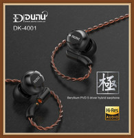 Dunu DK4001 Pole Beryllium Diaphragm PVD 5 Driver Hybrid 4BA+1DD Hifi Music Monitor Studio Stereo Earphone Earbuds w/ MMCX Cable