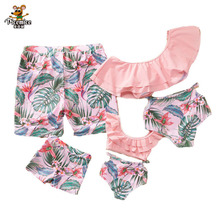 Family Look Matching Swimsuit Mother Daughter Swimwear Men Kids Boy Dad Son Beach Shorts Mommy And Me Clothes Women Girl Bikinis family matching swimwear leopard print mother daughter bikini kids swimsuit women one piece swim men boy dad son beach shorts