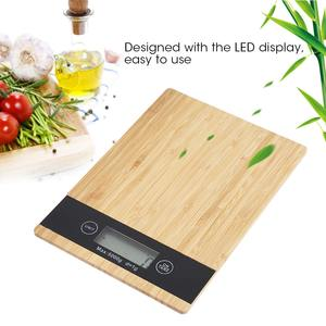 Food-Kitchen-Scale Weighing Bamboo Digital Electric Led-Display Multi-Function