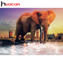 Huacan Lukisan Berlian Gajah Diamond Bordir Hewan Gambar Rhinestones Mosaik Diamond Cross Stitch Kit Menjahit(China)