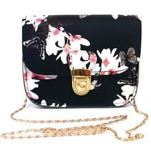 2018 PU Leather Small Shoulder Bag Luxury Women Bags Brand Design Flower Butterfly Printed Retro Flap Crossbody Bag(China)