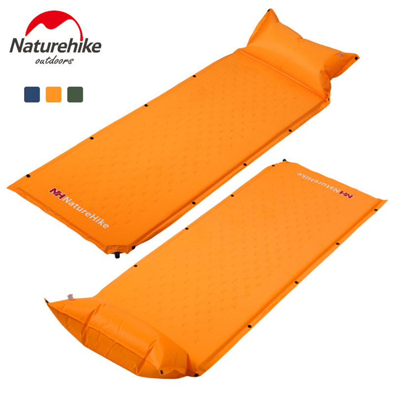 NatureHike Sleeping Camping Mat Mattress Self-Inflating Pad Portable Bed with Pillow Camping Tent Mats Single Person Foldable