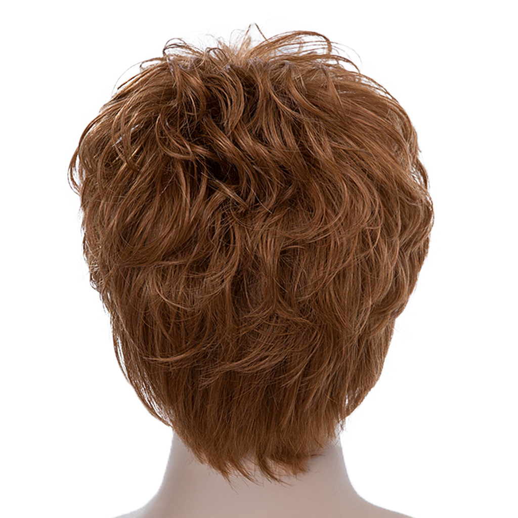 New Arrive Men Short Brown Wig Human Hair Wig with Oblique Bangs, Layered Fluffy Wig Heat Safe Wig Heat Resistant fluffy synthetic lolita curly flax mixed gold long side bang capless cosplay wig for women