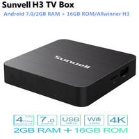 Sunvell H3 Smart TV Box Android 7.0 Allwinner H3 2GB RAM 16GB ROM 2.4G WiFi 100Mbps Support 4K H.265 3D Games Video PK mi Box