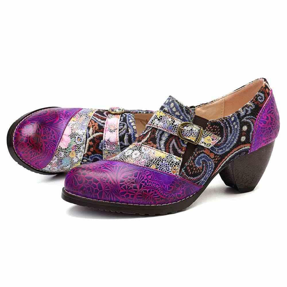 SOCOFY 2019 Bohemia Hakiki Deri Ekleme Jakarlı El Yapımı Retro Desen Toka Fermuar Pompaları Bayanlar Ayakkabı Ilkbahar Sonbahar