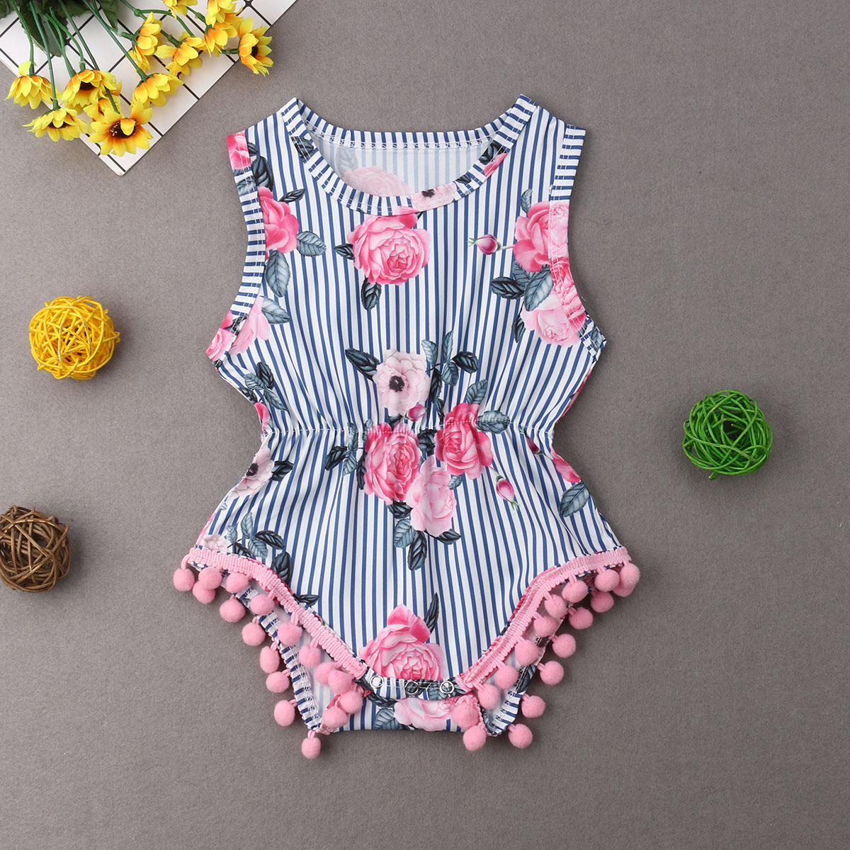 Pudcoco Girl Jumpsuits 0-18M US Newborn Kid Baby Girls Floral   Romper   Jumpsuit Outfit Sunsuit Clothes