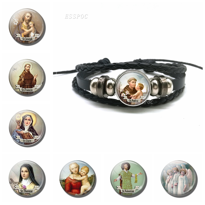 Ambitious St Anthony Bracelet Saint Bangle Bring Love To Your Life Black Leather Bracelets Religious Jewerly Gift For Men Women Last Style