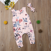 Одежда для маленьких девочек Комбинезон с круглым вырезом, без рукавов, с цветочным принтом, с бантом, повязка на голову с геометрическим рисунком, 2 предмета, Детская Хлопковая повседневная одежда