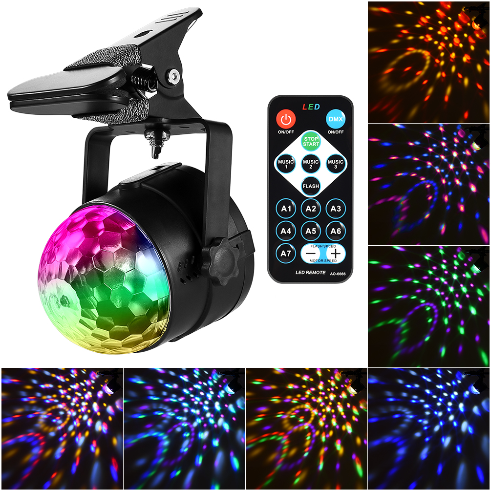 LEDGLE 6W Magical Stage Light Color Changing Disco Lights Sound Activated Party Lights with Remote Control, 3 Working ModesLEDGLE 6W Magical Stage Light Color Changing Disco Lights Sound Activated Party Lights with Remote Control, 3 Working Modes
