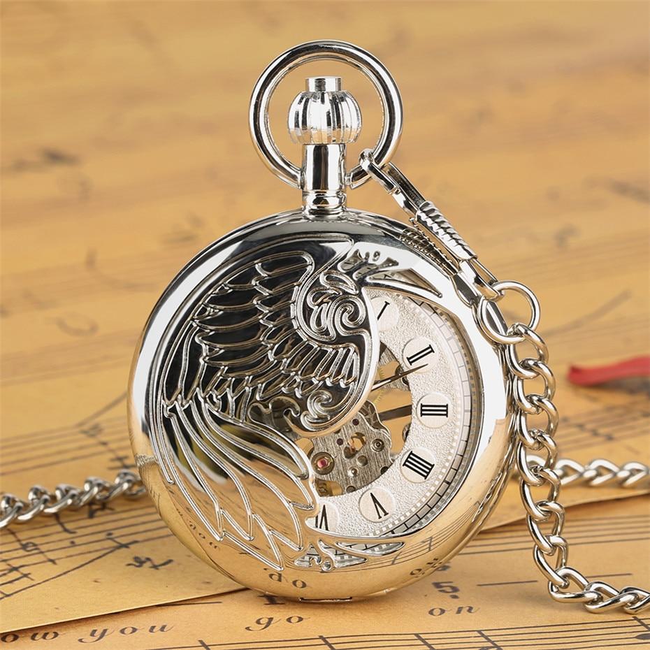 Exquisute Phoenix Half Hunter Mechanical Pocket Watch Roman Numerals Pendant Watch Gifts For Men Women High Quality Hand-Wind
