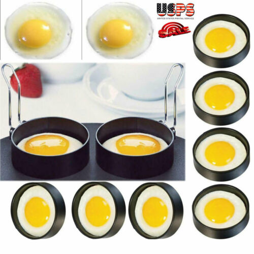 1-4 Metal Egg Frying Ring Perfect Circle Round Fried//Poach Mold+Handle Non-Stick