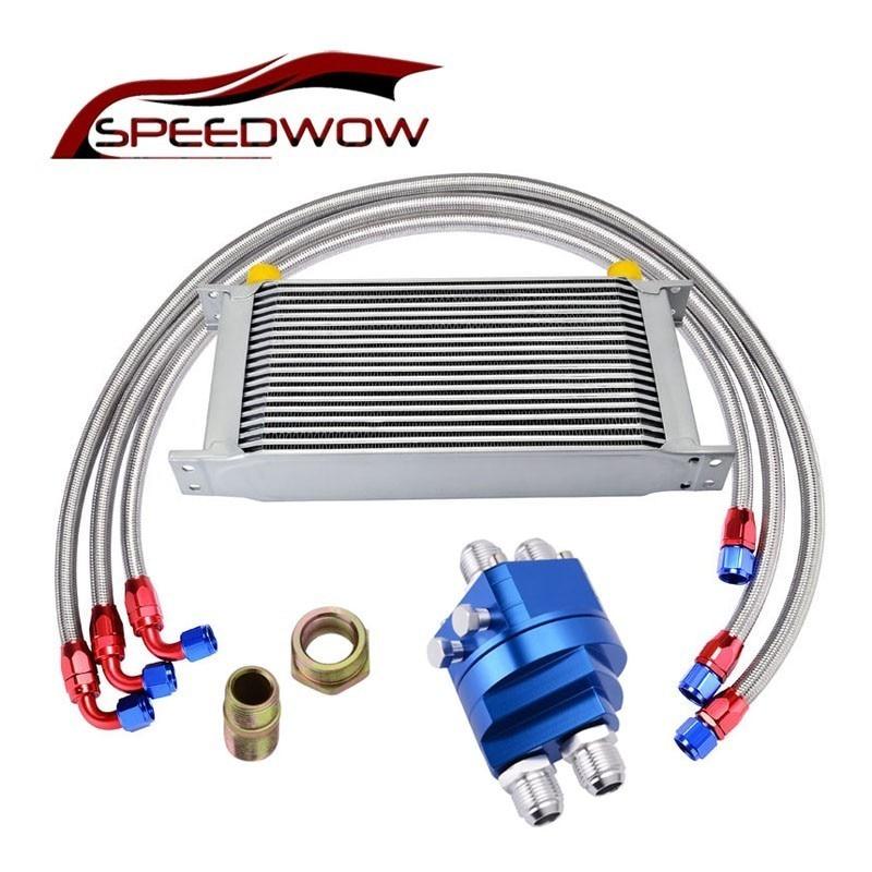 SPEEDWOW 10AN refroidisseur d'huile de Transmission + adaptateur d'huile plaque de refroidisseur de filtre + 1 M/1.2 M/1.4 M Kit de ligne de tuyau tressé en acier inoxydable