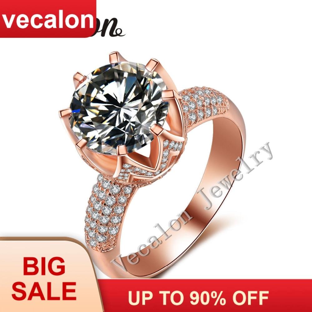 Vecalon ვარდების ოქროს საქორწილო ბეჭედი ქალთა მრგვალი დაჭრილი 6ct AAAAA ცირკონი Cz 925 სტერლინგი ვერცხლისფერი ქალი ჩართულობის ჯგუფის ბეჭედი