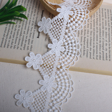 14yards 7cm white flower milk soluble lace trim fabrics children's clothing women's wear dress skirt decoration accessories