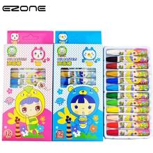 Купить с кэшбэком EZONE 12/18/24pcs Painting Crayon Children's Drawing Tools Non-Toxic Wax Crayon Cartoon Kawaii Pens For Kids Painting Drawing