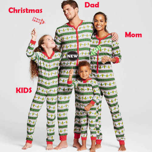 8a6c7b65e9 Classical Family Christmas pajamas Red Green Stripe Romper Jumpsuit Men  Sleepwear Women Nightwear Christmas baby cloth