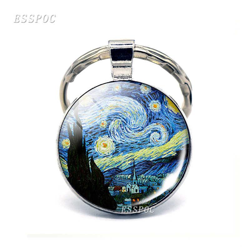 Buatan Tangan Kaca Cabochon Dome Van Gogh Starry Night Liontin Gantungan Kunci Gambar Seni Kunci Rantai Perhiasan Hadiah Natal