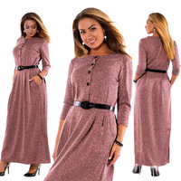 2018 winter large size dress female European American style fashion elegant solid color long sleeve high waist long dress women
