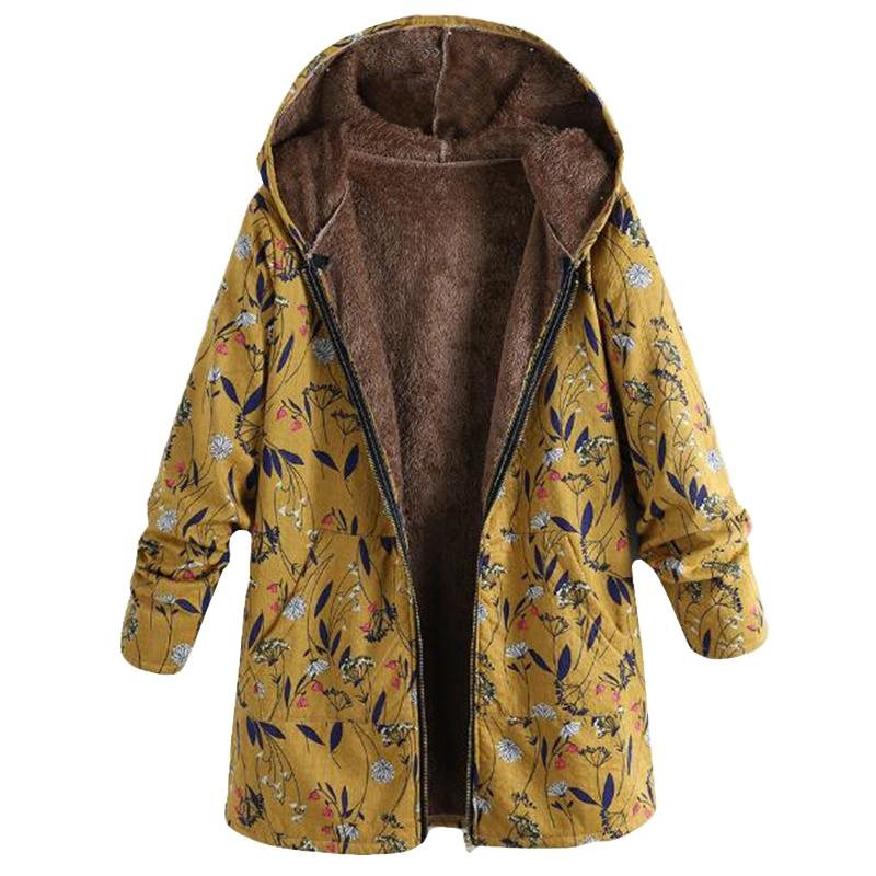 Plus Size Women Christmas Coat Casual Floral Print Jackets Long Sleeve Hooded Outwear Fleece Fur Chaqueta Zipper Manteau Femme