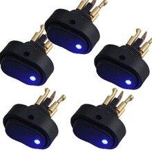 цена на 5Pcs Blue/Red LED Light 12V 30A Car Boat Auto Rocker SPST Toggle Switch  12mm