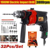 32Pcs 1980W Electric Brushless Impact Drill Drilling Guns Impact electric drill Electric Rotary Hammer Torque Driver Tool