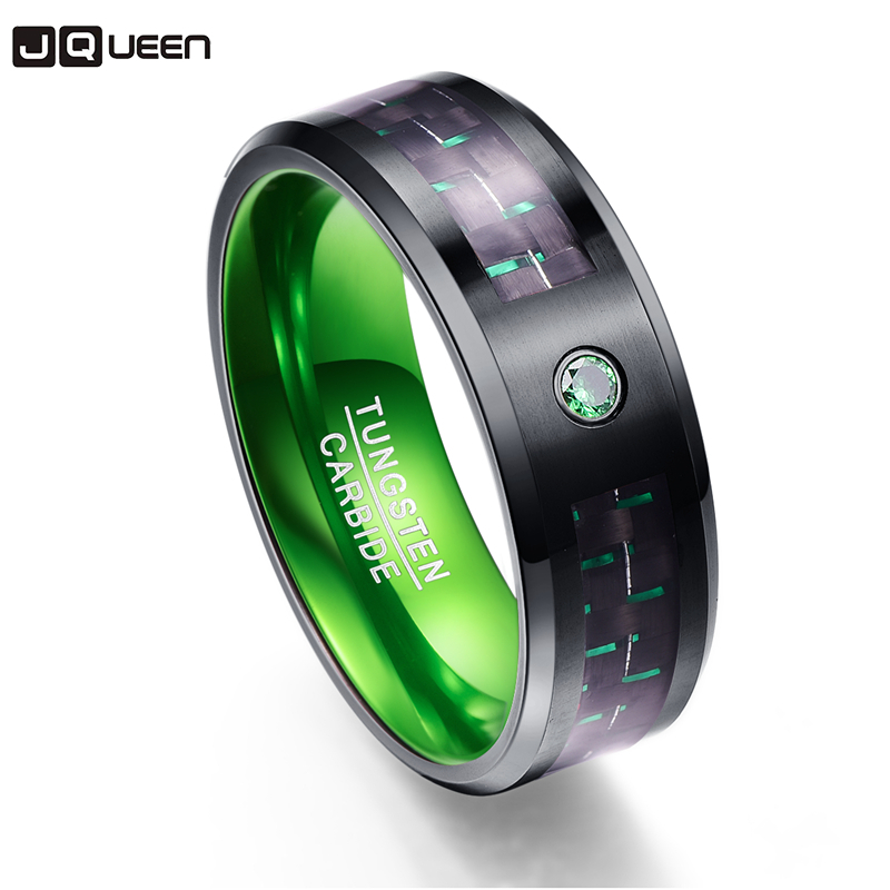 Carbon Fiber Party Ring Green Zircon Men Rings 100% Tungsten Carbide Wedding Bands Anillos Para Hombres Ring