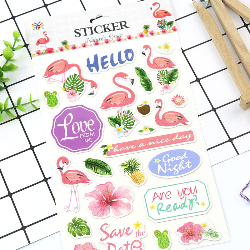 Lovely flamingo Sticekrs Cute Animals Flowers Green Plants Decor Washi Paper Stickers Decor Scrapbooking Diy Albums Kids GiftLovely flamingo Sticekrs Cute Animals Flowers Green Plants Decor Washi Paper Stickers Decor Scrapbooking Diy Albums Kids Gift