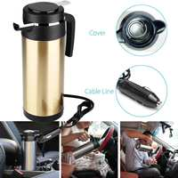 12V/24V 1200ml Stainless Steel Car Electric Heating Cup Car Cigarette Lighter Vehicle Water Heated Kettle Water Bottle Travel
