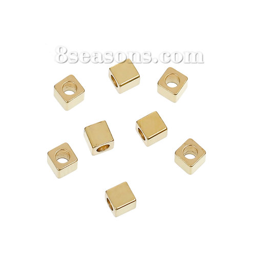 1/8 300 Pcs New Hole: Approx 1.8mm 1/8 X 3mm Self-Conscious Brass Spacer Beads Cube Brass Color About 3mm